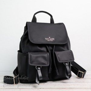 NWT Kate Spade Carley Flap Nylon Backpack in Black